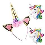 DRESHOW Diadema de unicornio Oro Unicornio brillante Diadema de flores de rosas para niñas Adultos Disfraz de cosplay, Fiesta de Navidad, 1 PC de bonificación 2 Unicorn Ballon gratis