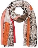 styleBREAKER Sciarpa elegante con stampa a motivo a pelle di serpente, aree in stile Color Blocking e frange, foulard 01016177, colore:Rosso-arancione