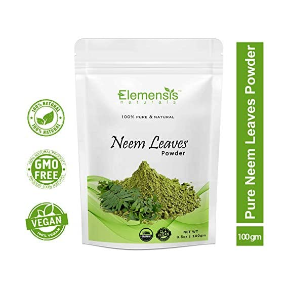Elemensis Naturals Pure & Natural Pimple-free Clear Skin, silky hair Neem Leaves Powder, 100gm