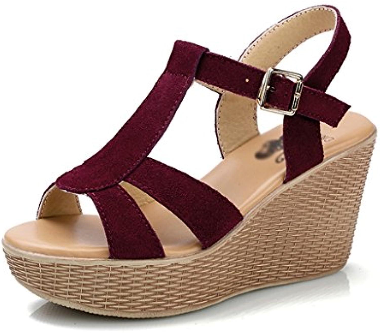 ZCJB Sandalias De La Cuesta Hembra Summer Muffin Cake Zapatos De Plataforma Sandalias Romanas De Cuero Genuino...
