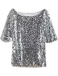 4af99fedb49a5 Camiseta Atractiva para Mujer Lentejuelas De Moda Bling Bling Camiseta De  Manga Joven Corta Blusa Vintage Evening Party Tops O Cuello…