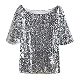 Sexy T Shirt Damenmode Pailletten Bling Bling Kurzarm T Shirt Bluse Classic Vintage Abend Party Tops O Neck Casual Elegant Frauen (Color : Silber, Size : M)