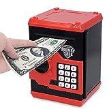APUPPY Hucha electrónica, con caricatura, contraseña, cerdito, hucha de monedas, juguete, regalo de cumpleaños para niños, rojo & negro