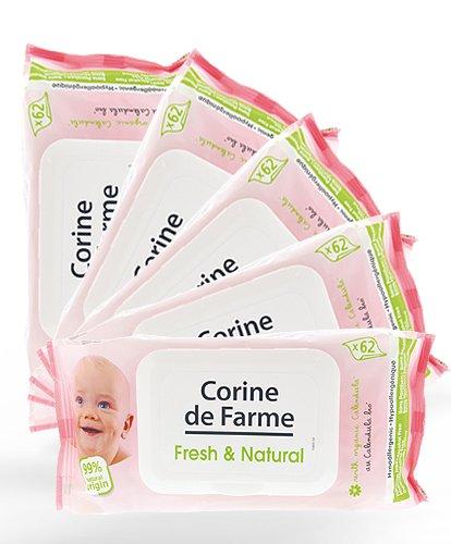 lot-de-5-paquets-de-62-lingettes-parfumees-fresh-natural-avec-devidoir-au-calendula-bio