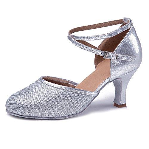 HIPPOSEUS Damen & Mädchen Sandalen Ausgestelltes Tanzschuhe/Ballsaal Standard Glattleder Latein Dance Schuhe,DEWXCL-7,Silber,EU 36