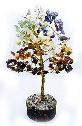 Crocon Natürliche Farbe Heilkraft Edelstein Kristall Bonsai Fortune Geld Baum für Viel Glück, Reichtum und Wohlstand Spirituelle Geschenk Size - 10 inch Seven Chakra (Golden Wire)