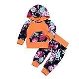 Kobay 2PCS Kleinkind Baby Lange Hülsen Blumendruck mit Kapuze Spitzenstrickjacke + Hosen Eingestellt(18-24M,Orange)