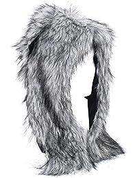 Gorro Unisex Mujer De Piel De Imitación Con Diseño Animal, Bufanda Y Guantes