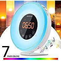 [Nueva Versión] Despertador de Luz,EatekPower Wake Up Light/Touch Control,Luz Despertador con 7 Luces LED de Colores,6 Alarmas,10 Niveles de Brillo,Amanecer Despertar Natural Luces-despertador
