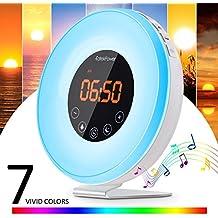 [Nuova Versione] Wake Up Light,EatekPower Sveglia Luce con Simulazione Alba, Sveglia Luminosa/Touch Control e Caricatore USB,Luce Notturna Con 7 LED a Colori, 6 Allarmi, 10 Livelli di Luminosità