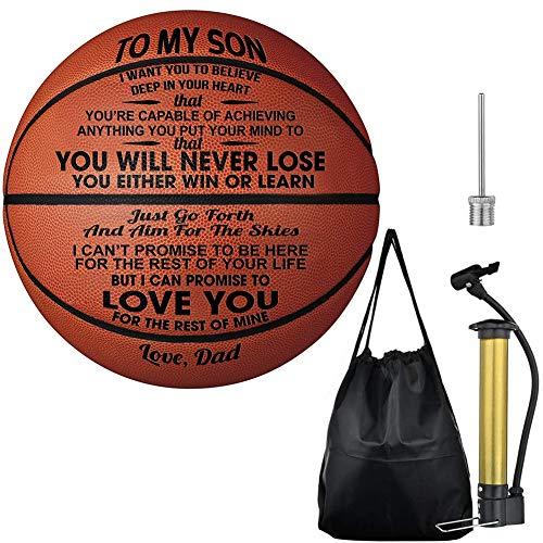 Welsky to My Son Ballon de Basket-Ball Personnalisable pour garçons M De Papa.