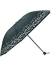 Umbrella Mart 3 Fold Digital Printed Rain Sun & UV Rays Protective Umbrella (Green/Multi)