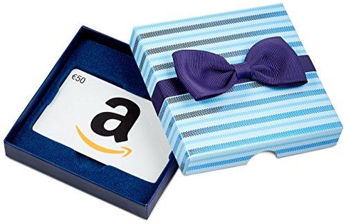 Amazon.de Geschenkgutschein in Geschenkbox - 50 EUR (Blaue Streifen)