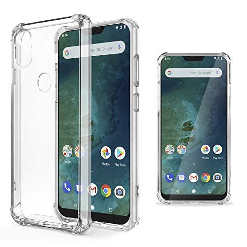 Moozy Transparent Silikon Hülle für Xiaomi Mi A2 Lite/Redmi 6 Pro - Stoßfest Klar TPU Case Handyhülle Schutzhülle