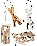 alles-meine.de GmbH 1 Set _  Ski mit Stöcken - Braun - Winter Time  - Incl. Name - aus Holz - 16..