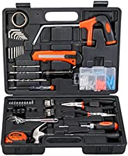 Black+Decker 108 Pieces Hand Tool Kit for Home & Office, Orange/Black - BMT108C, 2 Years Warr