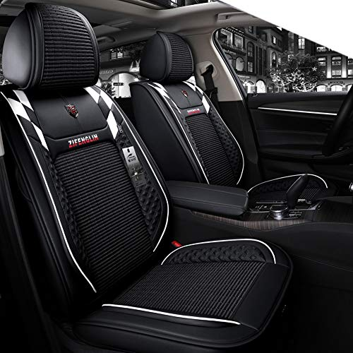 YE Autositzbezug - Komplettsatz, 5 Sitze Universal-Sitzkissen aus Ice-Silk & Leder für den ganzjährigen Einsatz (Color : B)