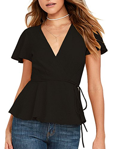 BMJL Frauen Tops Rüsche Chiffon Wrap Plunge Peplum Krawatte Seitliche Kurzarm T-Shirt Bluse (Kurzarm-t-shirt Wrap)