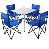 KOKR Tisch- und Stuhlset - Picknick Strand Tisch und Stuhl Tragbar, Klapptisch (70X70x70cm) + 4 X Campingstühle