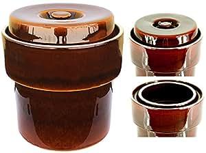 Pot à choucroute MS-Steinzeug Pot Pot Céramique Pot Pot avec gouttière Grès 5l