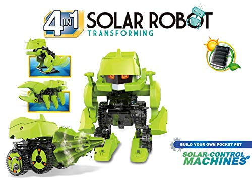 Popsugar Solar Robot 4 in 1 Educational DIY Science Kit for Kids  | STEM, Make T-Rex, Drill Vehicle, Robot and Insecta, Multicolor