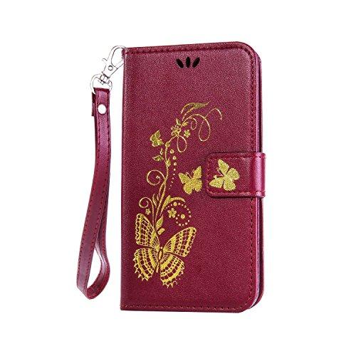 Preisvergleich Produktbild Anlike Sony Xperia M5 (5,0 Zoll) Hülle, Schutzhülle für Sony Xperia M5 (5,0 Zoll) Wallet Tasche [Butterfly geprägte Serie Bronzing] Handyhülle - Braun