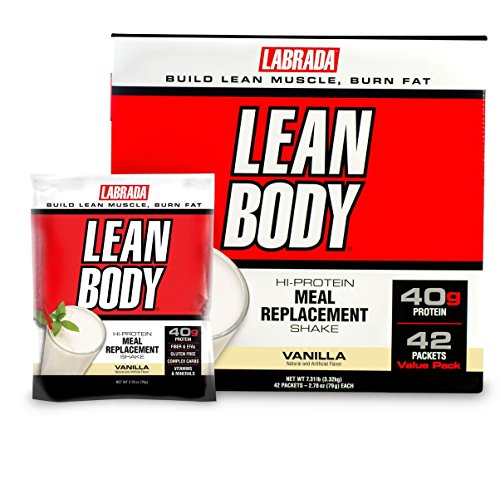 Lean Shake (Labrada Nutrition Lean Body Meal Replacement Shake, Vanilla Ice Cream, 2.78-Ounce Packets (Pack of 42))