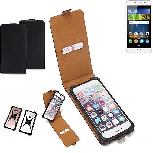 K-S-Trade Flipstyle Case für Huawei Y6Pro LTE Schutzhülle Handy Schutz Hülle Tasche Handytasche Handyhülle + integrierter Bumper Kameraschutz, schwarz (1x)