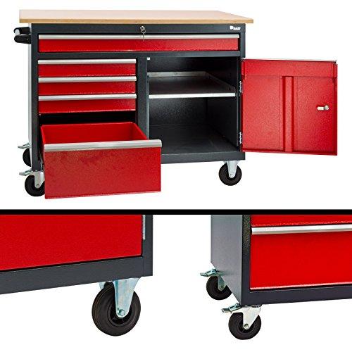 DEMA Mobile Werkbank rot/anthr. 5 Schubl. 1T. 120x60x93 - 2