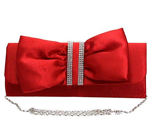 Elegante Damen Handtasche Clutch mit Strass und Schleifen Verzierung für besondere Anlässe (Schleife Handtasche Mit)