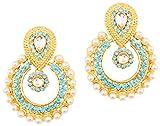 Touchstone Boucles d'oreilles longues pour femme couleur or de style indien Bollywood, avec fausses perles et strass bleus imitant des turquoises, idéales pour un mariage