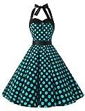 Dressystar DS1957 Vintage Tupfen Retro Cocktail Abschlussball Kleider 50er 60er Rockabilly Neckholder Schwarz Blau Dot L