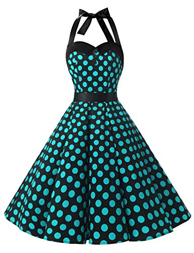 Dressystar DS1957 Vintage Tupfen Retro Cocktail Abschlussball Kleider 50er 60er Rockabilly Neckholder Schwarz Blau Dot (Schwarz Kleid Und Blau Kostüm)