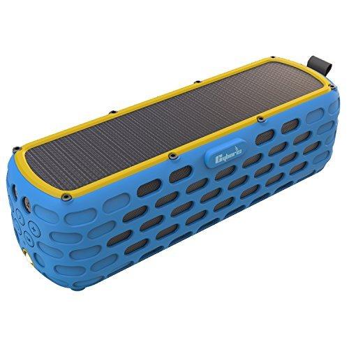 Solar-Bluetooth-Lautsprecher, CYBORIS 30 Stunden Spielzeit verbesserte 2. Generation Wireless-HiFi-Portable Bluetooth 4.0 Stereo-Lautsprecher Solar Powered Stoßfest und wasserdicht (Blau)