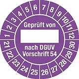 Prüfplakette Geprüft...DGUV Vorschrift 54, 2021 - 2030, Dokumentenfolie, Ø 3 cm, 100 St.