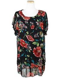ililily Chiffon Blumenmuster als Druckmotiv Tunika-Oberteil mit Ärmel stretchbarer Stoff T-Shirt