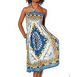 H112 Damen Sommer Aztec Bandeau Bunt Tuch Kleid Tuchkleid Strandkleid Neckholder, Farben:F-028 Blau;Größen:Einheitsgröße