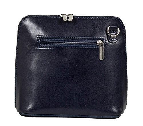 Piccola borsa a tracolla in pelle italiana - serata con tracolla - (17 x 16 x 8 cm) piccolo Blu (Blu navy)