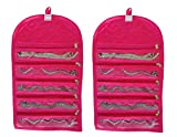 Atorakushon Pack of 2 Satin Jewellery Organizer / Wrist Watch / Payal / Chain / Bracelet Foldable Jewellery pouch vanity Bag Cover Organizer kit with Zip Travel Storage Bag Jewelry case Pouch Kit (Pink)