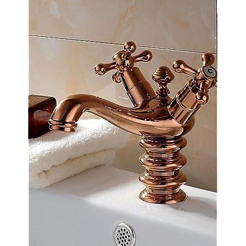 Bazar Chino Rosa de Oro Un agujero dos asas baño grifo del fregadero