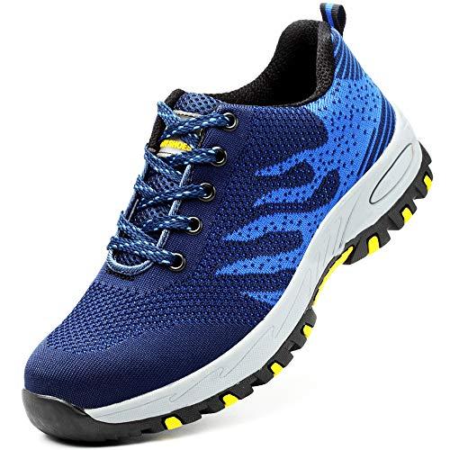 Scarpe da Cantiere Donna Uomo Leggere Sneaker da Lavoro Antinfortunistiche con Punta in Acciaio Scarpe da Trekking per L'Estate all'aperto Blu 35
