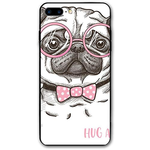 h iPhone 7/8 Plus Case, Cute Pet Dog with Pink Bow Tie Oversized Glasses Hand Drawn Domesticated,Rubber Anti-Scratch Shock Absorption Protective Phone Cover ()