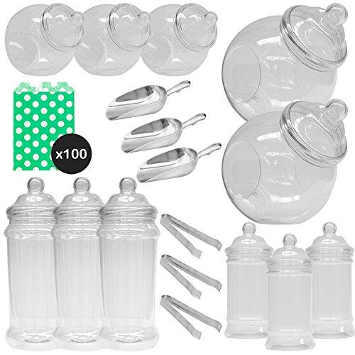 ststoffbehälter Süßigkeiten Buffet Kit - 100 Grün Polka Papiertüten ()