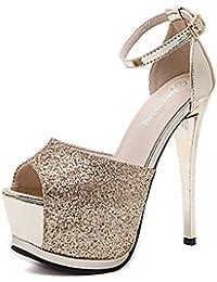 Sandalias de Tacón Alto de Mujer de Verano,Tacones Primavera Club Zapatos Vestido De Tela TacóN De Aguja Cristal...