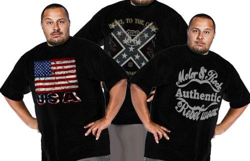 Coole Übergrößen Herren Größen bis 5XL Männer Shirts Big und Chic Designs Motor und Rock Route 66 Biker USA Flagge USA schwarz