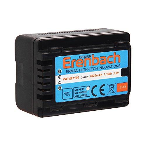 Galleria fotografica Batteria per Panasonic HC v777eg e HC v380eg Camcorder–-- Erenbach batteria ad alte prestazioni di qualità per VBT190(2020mAh)