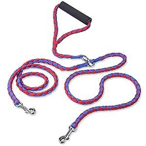 Laisse Double Anti Enchevêtrement, PETBABA 1.4m Longue Nylon Laisse de Dressage avec Poignée Rembourrée pour Moyen à Gros Chiens