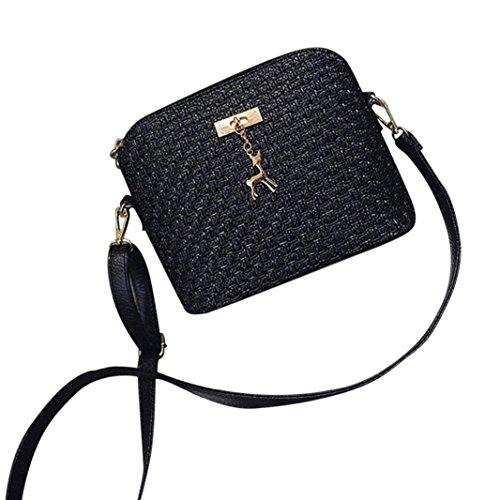 SANFASHION Damen Leder Crossbody Tasche Weave kleine Hirsch Umhängetaschen Messenger Bag