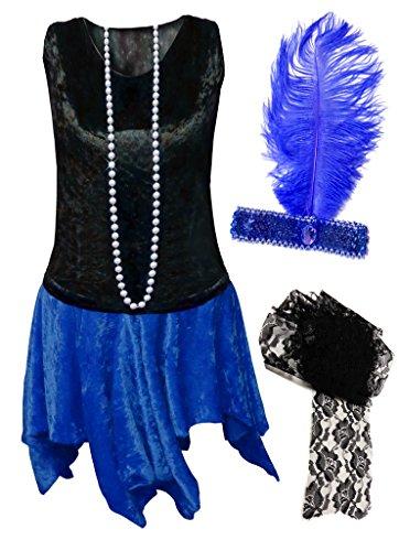 Sanctuarie Designs Flapper Samtkleid Übergröße Übergröße Halloween Kostüm Basic Kit - Blau - (Perlen Übergröße Kostüm)