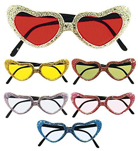 Herzbrille Herzchenbrille mit Glitter Love & Peace Mottoparty
